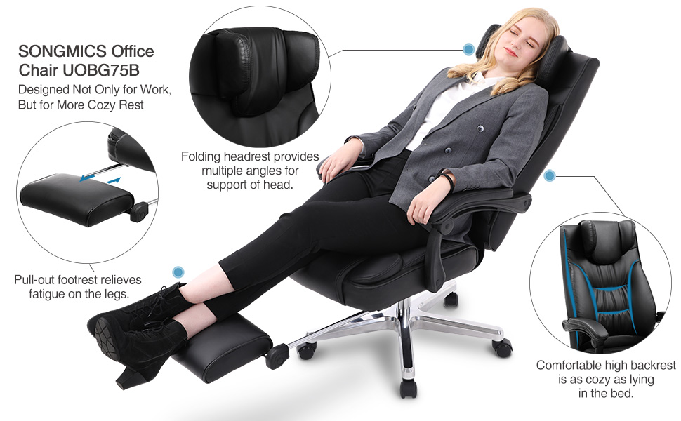 SONGMICS Luxurious And Innovative Office Chairs With High Back, Folding  Headrest,and Footrest,enjoy The Feeling Of Flying First Class