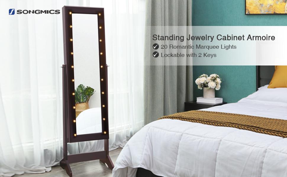 Amazon.com: SONGMICS LED Jewelry Cabinet Armoire with Mirror ...