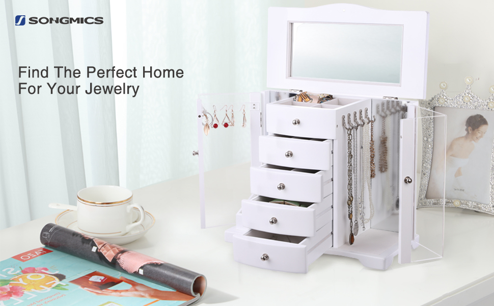 Songmics Wooden Jewelry Box Large Organizer With Clear Acrylic Doors And 4 Drawers White Ujow57w