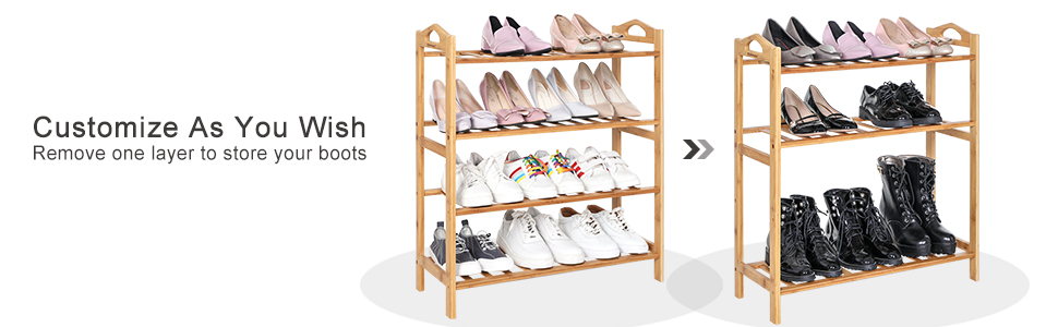 4 Tier Bamboo Shoe Rack Stackable Shoe Shelf Entryway Shoe Organizer Unit Storage Rack,Shoe Hold Stand Storage 15-20 Pairs Shoes,80/×25/×70 cm,Brown