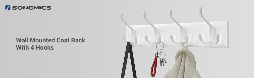 SONGMICS Wall Mounted Coat Rack, with 4 Tri-Hooks, for Entryway Bathroom Closet, White ULHR30WT