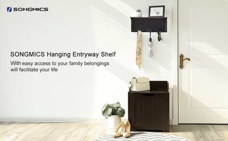 Amazon.com: Songmics de madera perchero de estante de ...