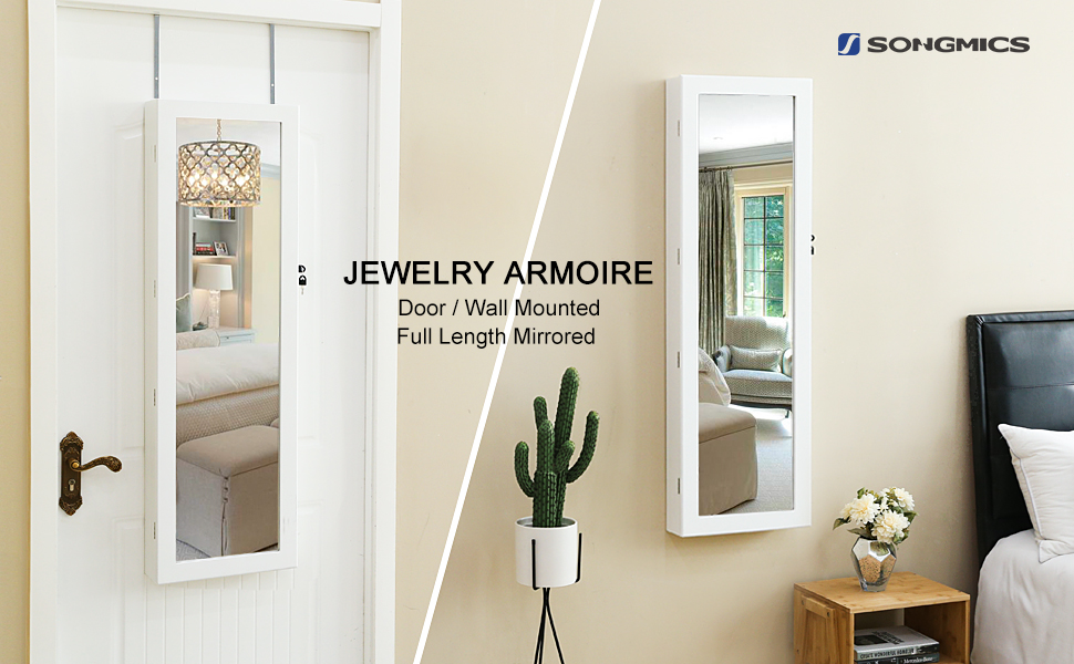 wall door mounted jewelry cabinet armoire