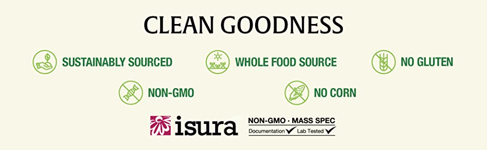 Clean Goodness, sustainably sourced, non-GMO, Whole Food Source, No Gluten, No Corn