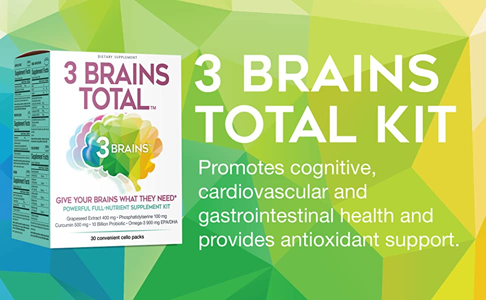3 Brains Total Kit promotes cognitive, cardiovascular and gastrointestinal health