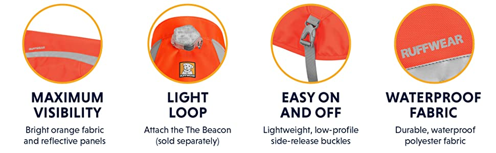 Maximum Visibility, Light Loop, Easy on and off, Waterproof Fabric