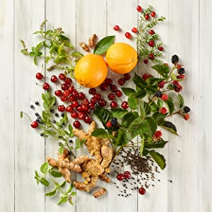 oranges, cherries, blackberries and ginger