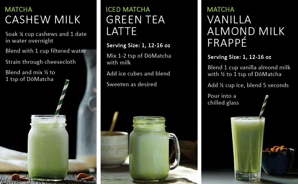 Matcha Cashew Milk Recipe, Iced Matcha Green Tea Latte Recipe, Vanilla Almond Milk Frappe Recipe
