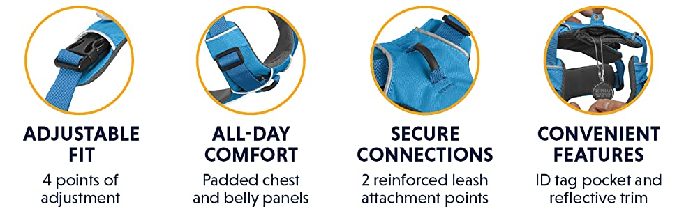 Adjustable fit, all-day comfort, secure connections, convenient features