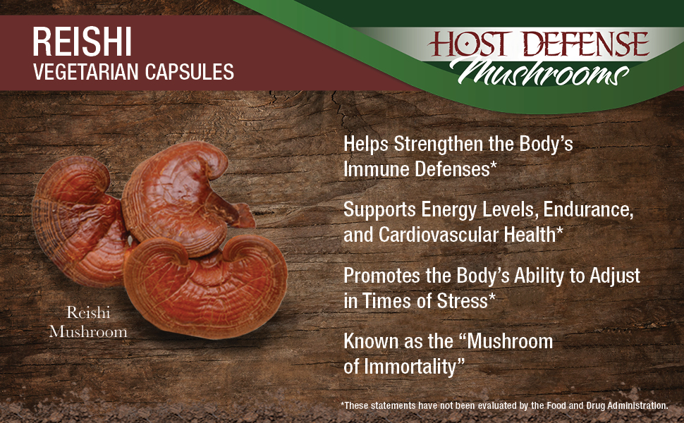 Host Defense - Reishi Mushroom Capsules, Naturally Supports a Healthy Heart  and