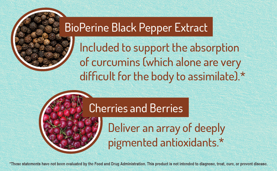 black pepper extract, cherries and berries