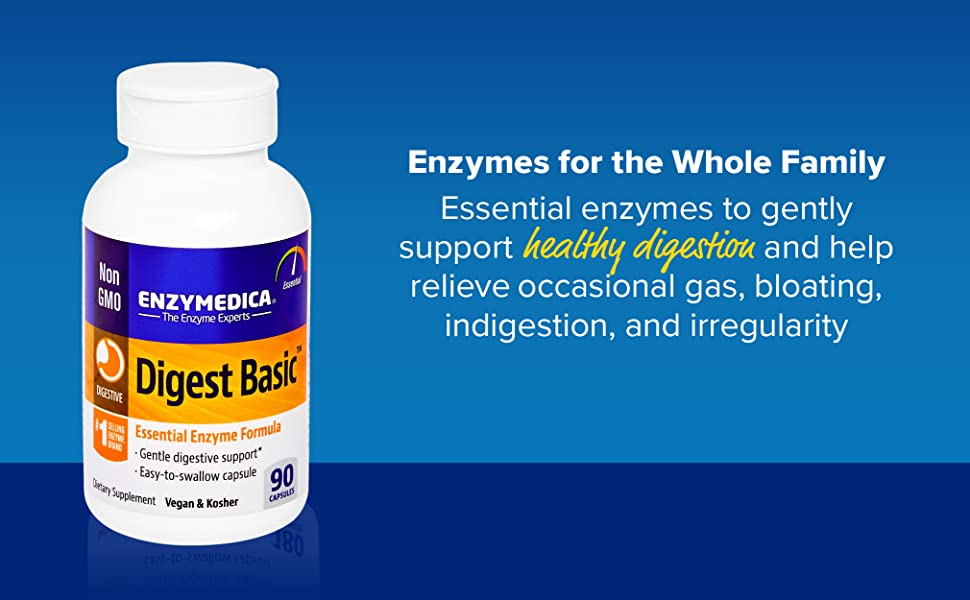 Enzymedica, Digest Basic, Dietary Supplement to Support Digestive Relief, Vegan, Gluten Free, Non-GMO, 90 Capsules (90 Servings) (FFP)