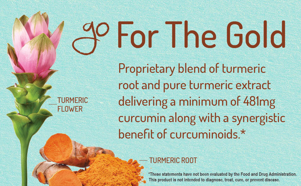 Go for the gold. Proprietary blend of turmeric root and pure turmeric extract