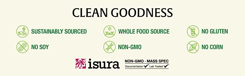Clean Goodness, sustainably source, no soy, whole food source, non-GMO, no gluten, no corn