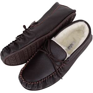 7cda13535b7 Snugrugs Henry Leather Moccasin slipper with rubber sole