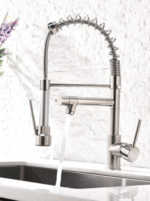 Aimadi Contemporary Kitchen Sink Faucet Single Handle Stainless Steel Kitchen Faucets With Pull Down Sprayer Brushed Nickel