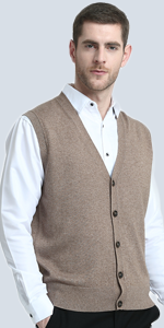 Kallspin Relaxed Fit Mens V-Neck Cable Knit Cashmere Sweater Vest ... ffbd02354