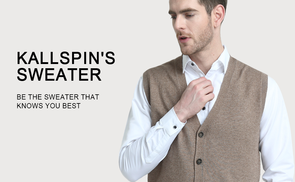 Kallspin Relaxed Fit Mens Cashmere V-Neck Knit Sweater Vest with ... 20447f426