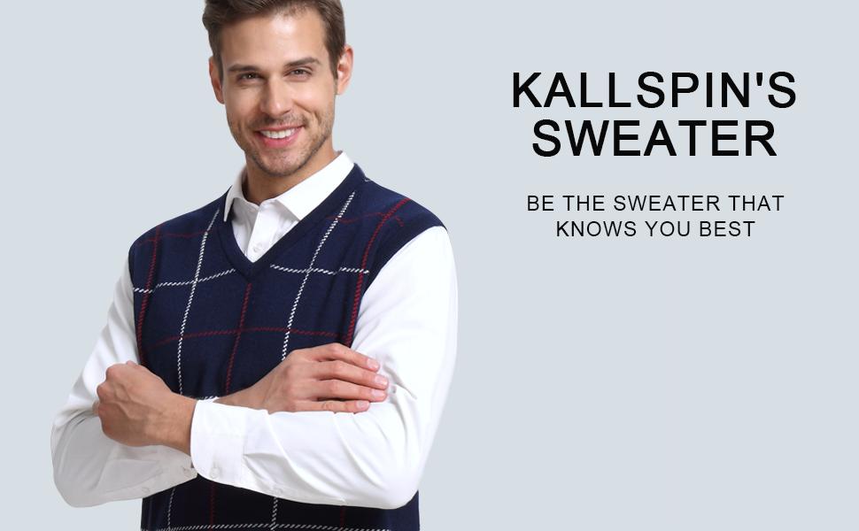 Kallspin Men s Plaid Sweater Vest Cashmere Blend Relaxed fit Knit V ... 40d55aec7
