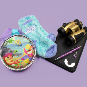 Animal Jam socks notebook binoculars cantene