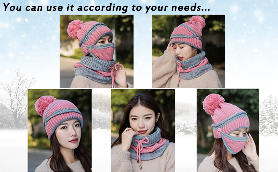 Breathable Double-layer Knitted Fleece Lining Heating Hat Circle Loop Scarf for Riding Skiing Winter Outdoor Ponacat Washable USB Heated Hat 3-in-1 Beanie Hat Scarf Neck Warmer
