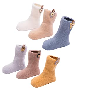 Lucky staryuan 6-Pack Boys Girls Thicker Socks Wool Knitting Sock