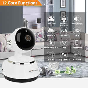 Home Security Camera, 1024P WiFi Dog Security Camera with Two-Way Audio,  Motion Detection, Pan/Tilt, 2 4Ghz IP Surveillance Camera for