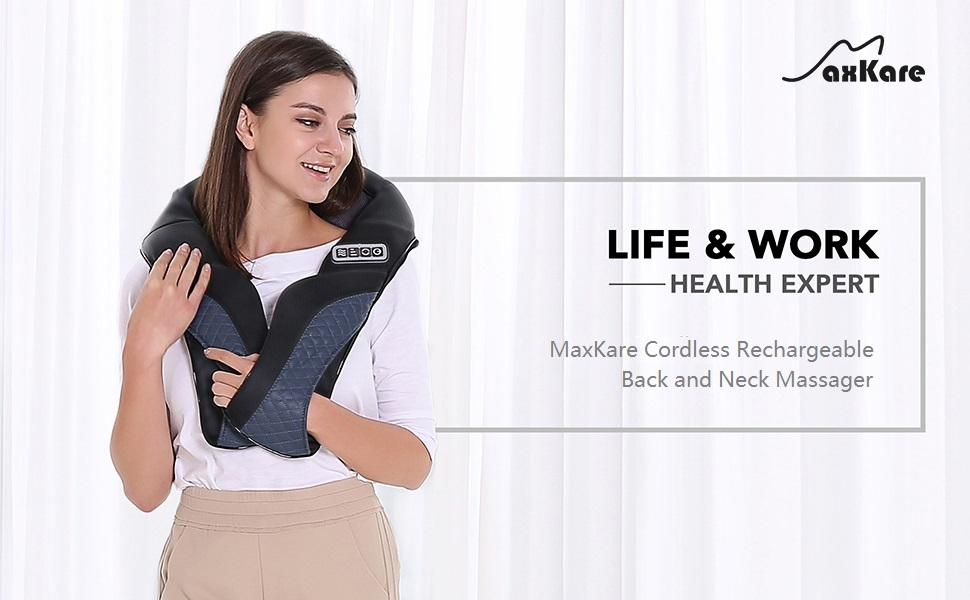 MaxKare Cordless Shiatsu Back and Neck Massager Rechargeable Use Unplugged with Heat Deep Tissue 3D