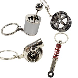 Ispeedytech 4 Auto Part Model Metal Keychain/Key Ring/Holder Set- Wheel Rim Tyre,Spinning Turbo, Six Speed Manual Transmission Shift, Spring Shock ...