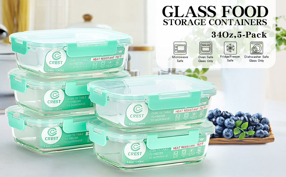 Amazon.com: Contenedores de vidrio para preparar comidas [5 ...