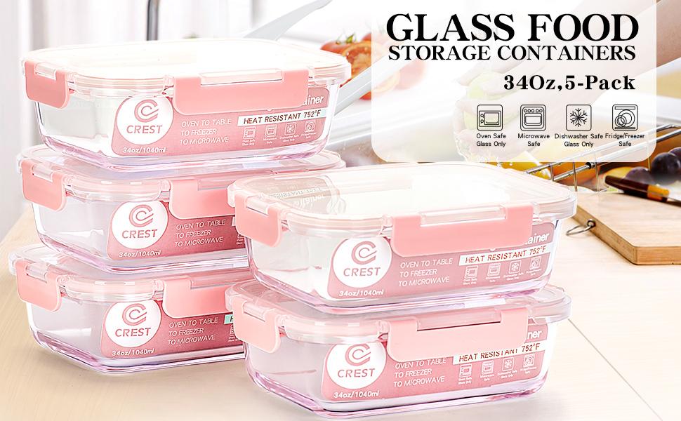 Amazon.com: Contenedores para preparar comidas de cristal [5 ...