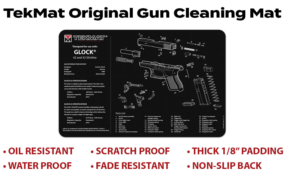 TekMat Gun Cleaning Mat for use with Glock 42 & 43