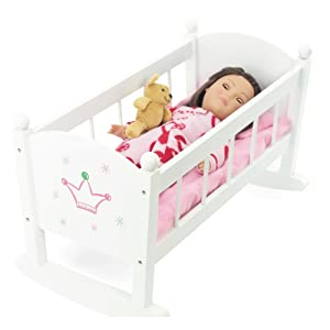 Wooden Doll Crib for up to 18 inch size dolls painted white fully assembled