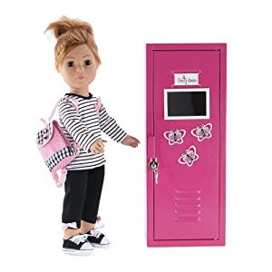 """Photo showing 18"""" doll standing by the locker."""