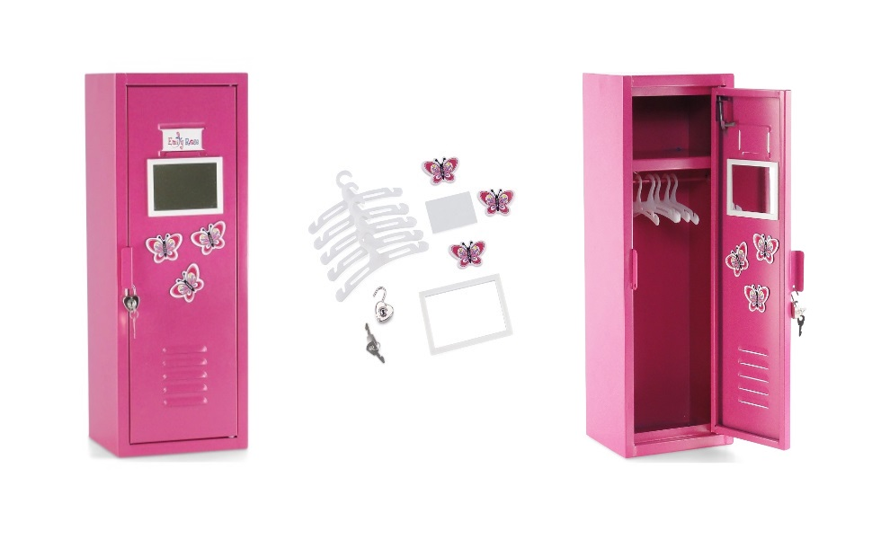 Photo of locker closed and open, along with all accessories included.