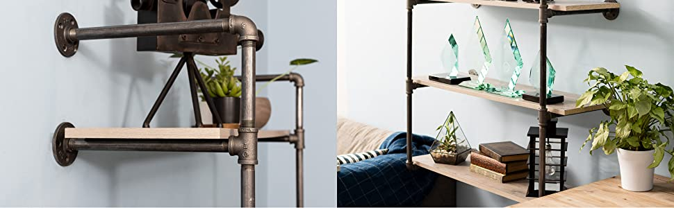 Shelves, Tiered, Pipe, Pipe Decor, Rustic, Floating