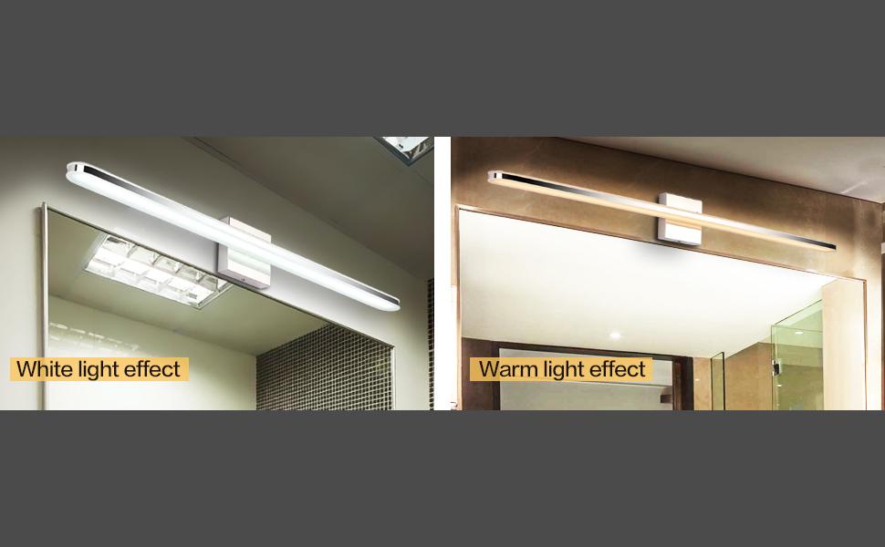 Led Bathroom Vanity Lighting Fixtures Long Shade Stainless Steel