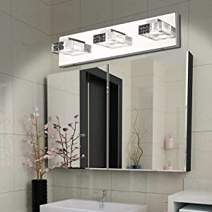 Vanity Lights Solfart 3 Head Glass Wall Bathroom Mirror