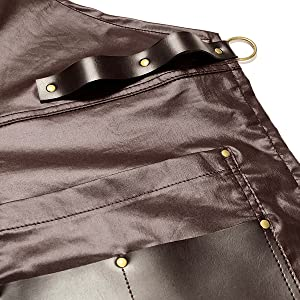 Under Ny Sky Barber Apron: Vegan Leather Straps, Pockets, Loops and Reinforcements
