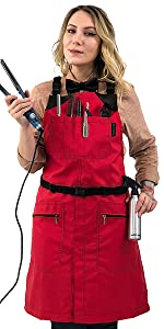 Under NY Sky Barber Chemical Waterproof Apron - Cross-Back Red Nylon
