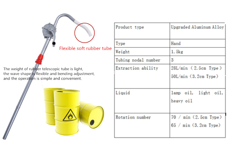 KUNHEWUHUA Hand Crank Oil Pump Fuel Transfer Rotary Hand Pump Manual Oil Pump Machine Oil Barrel Pump for Motor Oil Diesel Lubricating Oil 15L//min 1-1//4 Outlet