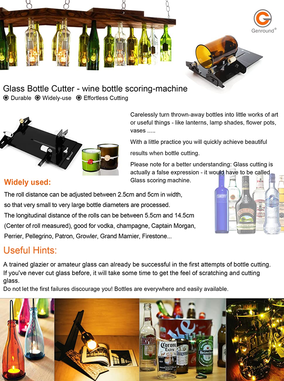 Beer Gloves Bottle Cutting Machine Kit Accessories Tool Kit Whiskey Liquor Alcohol Kalolary Glass Bottle Cutter Cutting Tool for Cutting Wine Champagne Water or Soda Round Bottles