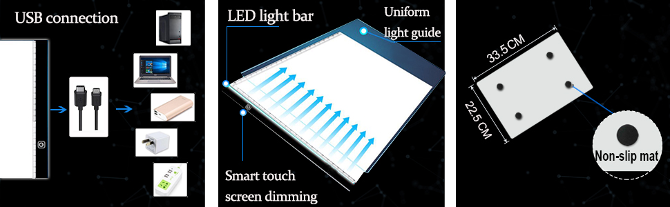 Genround A4 Ultra-Thin Portable LED Light Box Adjustable Brightness Light Pad USB Power Cable Incl A4 Light Board Diamond Painting Tracing 6 x Papers and Clip for Drawing Led Light Box