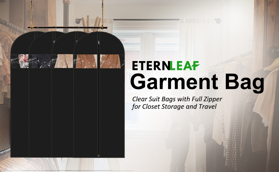 Breathable Suit Bag with Zipper and Metal Eyehole for Storage and Travel Washable Suit Cover with Clear Window Storage Bag for Free ETERNLEAF Four Pack 40 Inch Garment Bags