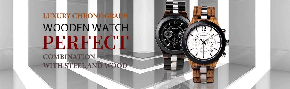 BOBO BIRD luxury chrongraph wooden watches for men