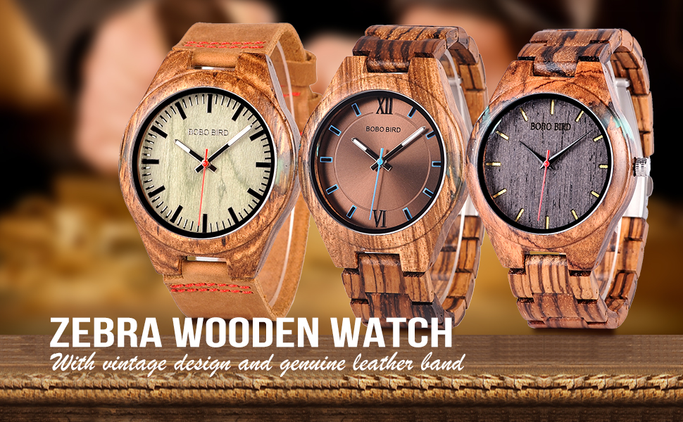 BOBO BIRD Zebra wooden watch
