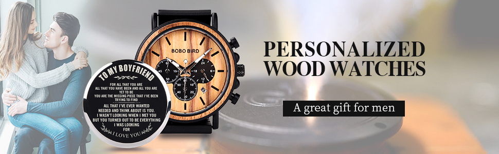 bobo bird personallzed wooden watches for boyfriend