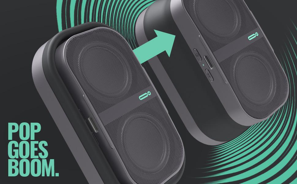 Pop Goes Boom. WaveBloom, Audio Expansion Technology. Expandable, Collapsible.