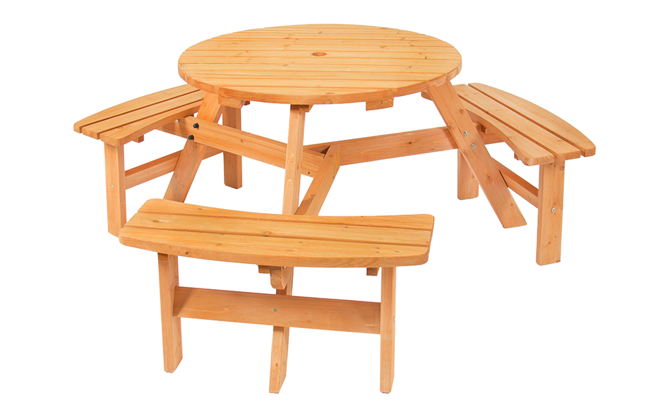 8 Seater Wooden Round Picnic Table /& Bench Chair Set Garden Patio Furniture