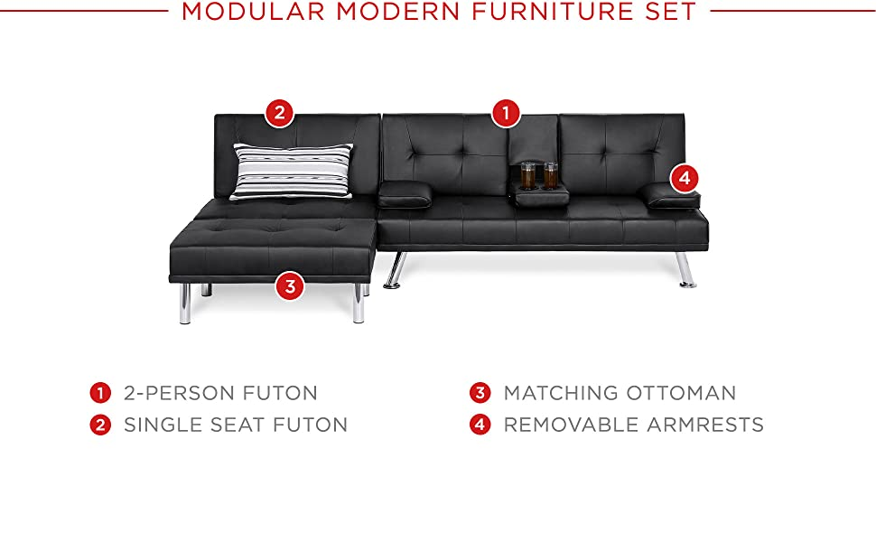 Best Choice Products 3-Piece Modular Modern Furniture Set w/Convertible Double Futon, Single-Seat Futon, and Footstool